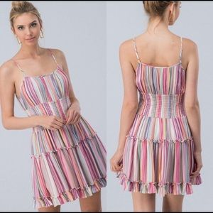 Dresses & Skirts - Coming Soon Rainbow Striped Layered Mini Sundress